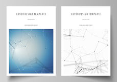 Business templates for brochure, flyer, booklet, report. Cover design template, vector layout in A4 size. Geometric blue Stock Photography
