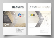 Business templates for brochure, flyer, booklet, report. Cover design template, vector layout in A4 size. Technology. Business templates for brochure, magazine stock illustration
