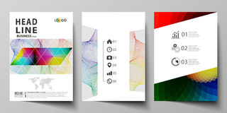 Business templates for brochure, flyer, booklet, report. Cover template, flat vector layout in A4 size. Colorful design Royalty Free Stock Photos