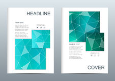 2 of business templates for brochure, flyer, cover magazine in A4 size. Molecular structure of DNA and neurons. Geometric abstract background. Medicine stock illustration