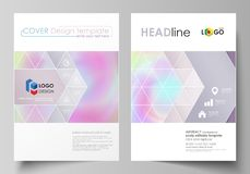 Business templates for brochure, flyer, report. Cover design template, vector layout in A4 size. Hologram, background in. Business templates for brochure Royalty Free Illustration