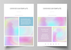 Business templates for brochure, flyer, report. Cover design template, vector layout in A4 size. Hologram, background in. Business templates for brochure stock illustration