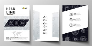 Business templates for brochure, magazine, flyer, annual report. Cover template, layout in A4 size. High tech design. Business templates for brochure, magazine Stock Photos