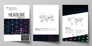 Business templates for brochure, magazine, flyer, booklet. Cover template, layout in A4 format. Abstract colorful neon. Business templates for brochure, magazine Stock Photo