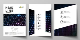 Business templates for brochure, magazine, flyer, booklet. Cover template, layout in A4 format. Abstract colorful neon. Business templates for brochure, magazine vector illustration