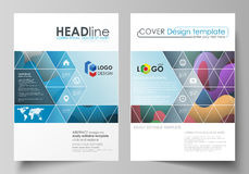 Business templates for brochure, magazine, flyer, booklet or annual report. Cover design template, flat vector layout in. Business templates for brochure Stock Photography