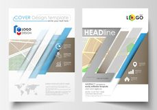 Business templates for brochure, magazine, flyer, booklet or annual report. Easy editable layout in A4 size. City map. Business templates for brochure, magazine Stock Photography