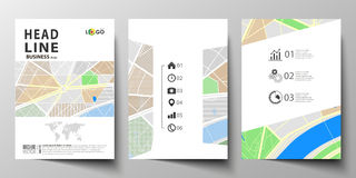 Business templates for brochure, magazine, flyer, booklet or annual report. Easy editable layout in A4 size. City map Royalty Free Stock Photos
