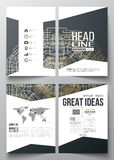 Business templates for brochure, magazine, flyer, booklet, annual report. Round golden technology pattern on dark Stock Photos