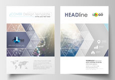Business templates for brochure, magazine, flyer, booklet. Cover design template, abstract flat layout in A4 size. DNA Stock Photo