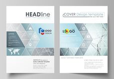 Business templates for brochure, magazine, flyer, booklet. Cover design template, vector layout in A4 size. Chemistry. Business templates for brochure, magazine Stock Photo