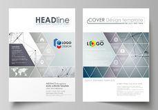 Business templates for brochure, magazine, flyer, booklet. Cover design template, vector layout in A4 size. DNA and. Business templates for brochure, magazine Stock Photo