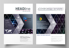 Business templates for brochure, magazine, flyer, booklet. Cover template, layout in A4 format. Abstract colorful neon Stock Photography