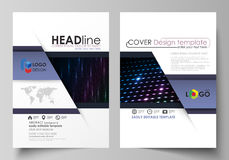 Business templates for brochure, magazine, flyer, booklet. Cover template, layout in A4 format. Abstract colorful neon Royalty Free Stock Photos