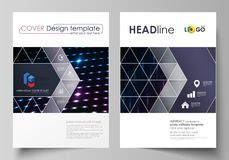 Business templates for brochure, magazine, flyer, booklet. Cover template, layout in A4 format. Abstract colorful neon. Dots, dotted background. Glowing Stock Images