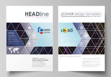 Business templates for brochure, magazine, flyer, booklet. Cover template, vector layout in A4 size. Abstract polygonal Stock Photos