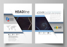 Business templates for brochure, magazine, flyer, booklet. Cover template, vector layout in A4 size. Abstract polygonal. Background with hexagons. Black color Royalty Free Stock Photo