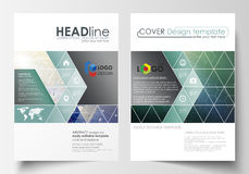 Business templates for brochure, magazine, flyer, booklet, report. Cover design template, vector layout, A4. Chemistry Royalty Free Stock Photos