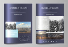 Business templates for brochure, magazine, flyer, booklet, report. Cover design template, vector layout in A4 size. Abstract landscape of nature. Dark color vector illustration