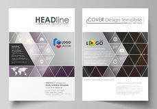 Business templates for brochure, magazine, flyer, booklet, report. Cover design template, vector layout in A4 size. Dark Royalty Free Stock Image