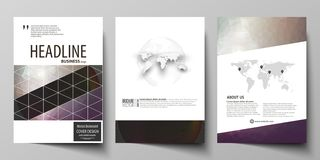 Business templates for brochure, magazine, flyer, booklet, report. Cover design template, vector layout in A4 size. Dark. Business templates for brochure vector illustration