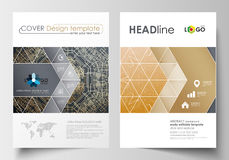 Business templates for brochure, magazine, flyer. Cover design template, abstract flat layout in A4 size. Golden Stock Photo