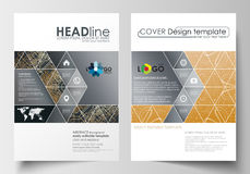 Business templates for brochure, magazine, flyer. Cover design template, abstract flat layout in A4 size. Golden Stock Photography