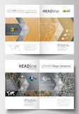 Business templates for brochure, magazine, flyer. Cover design template, flat layout in A4 size. Golden technology Stock Photos
