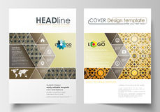 Business templates for brochure, magazine, flyer. Cover design template, flat layout in A4 size. Islamic gold pattern Stock Photography
