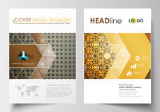 Business templates for brochure, magazine, flyer. Cover design template, flat layout in A4 size. Islamic gold pattern Stock Photo