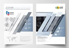 Business templates for brochure, magazine, flyer. Cover template, flat layout in A4 size. High tech design, connecting. System. Science and technology concept Royalty Free Stock Photography