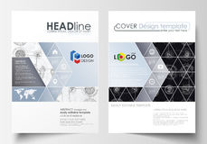 Business templates for brochure, magazine, flyer. Cover template, flat layout in A4 size. High tech design, connecting. System. Science and technology concept Stock Photo
