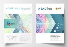 Business templates for brochure, magazine, flyer, report. Cover template, easy editable vector, flat layout in A4 size Stock Photos