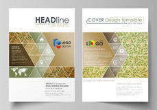 Business templates for brochure, magazine, flyer, report. Cover template, vector layout in A4 size. Abstract green color Royalty Free Stock Photography