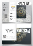 Business templates for brochure, magazine, flyer. Round golden technology pattern on dark background Stock Photo