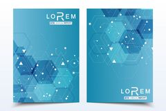 Business templates brochure, magazine, leaflet , flyer, cover, booklet, annual report. Scientific concept for medical. Technology chemistry Hexagonal molecule royalty free illustration