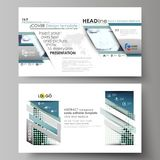 Business templates in HD format for presentation slides. Abstract design vector layouts. Halftone dotted background Stock Photography