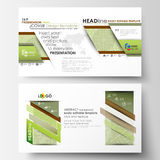 Business templates in HD format, presentation slides. Abstract layouts in flat design. Green color background with. Business templates in HD format for Stock Photography