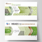 Business templates in HD format, presentation slides. Abstract layouts in flat design. Green color background with. Business templates in HD format for Royalty Free Stock Photo