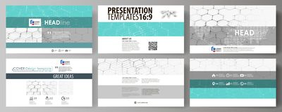 Business templates in HD format for presentation slides. Abstract vector layouts in flat design. Chemistry pattern. Business templates in HD format for Royalty Free Stock Images