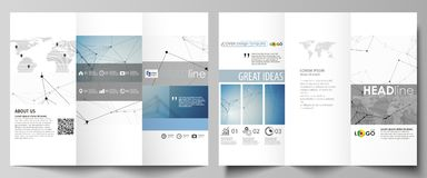 Business templates in HD format for presentation slides. Abstract vector layouts in flat design. Geometric blue color Royalty Free Stock Image