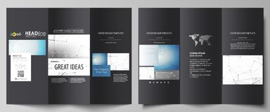 Business templates in HD format for presentation slides. Abstract vector layouts in flat design. Geometric blue color stock illustration