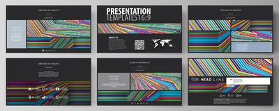 Business templates in HD format for presentation slides. Easy editable abstract vector layouts in flat design. Bright. Color lines, colorful style with Royalty Free Stock Photos