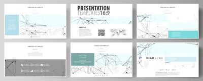 Business templates in HD format for presentation slides. Abstract vector layouts in flat design. Chemistry pattern. Business templates in HD format for Royalty Free Stock Photo