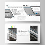Business templates in HD format for presentation slides. Easy editable layouts in flat design. Abstract 3D construction. Business templates in HD format for Royalty Free Stock Photography