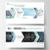 Business templates in HD format for presentation slides. Easy editable layouts. High tech design, connecting system. Science and technology concept. Futuristic Royalty Free Illustration