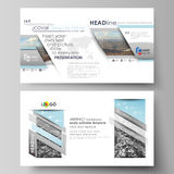 Business templates in HD format for presentation slides. Easy editable vector layouts in flat design. Abstract landscape Stock Images
