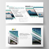 Business templates in HD format for presentation slides. Flat design blue color travel decoration layout, easy editable Royalty Free Stock Photos