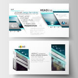Business templates in HD format for presentation slides. Flat design blue color travel decoration layout, easy editable Stock Photography