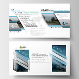 Business templates in HD format for presentation slides. Flat design blue color travel decoration layout, easy editable Royalty Free Stock Images